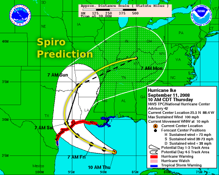 Hurricane Ike map with spiro prediction